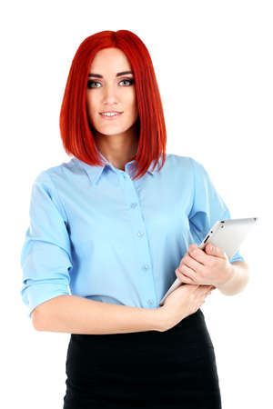 careerists: Young beautiful business woman holding tablet isolated on white