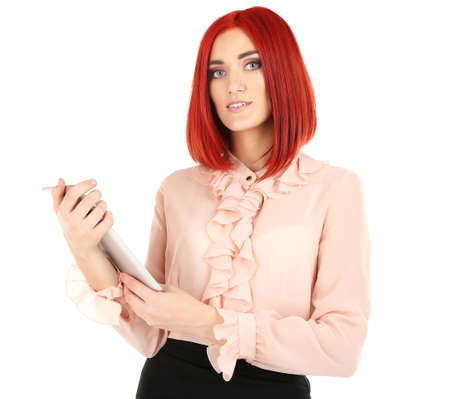 Young beautiful business woman holding tablet isolated on white