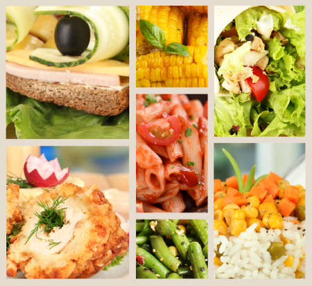 Collage of delicious food close-up photo