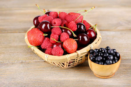 Berries in basket on wooden background photo