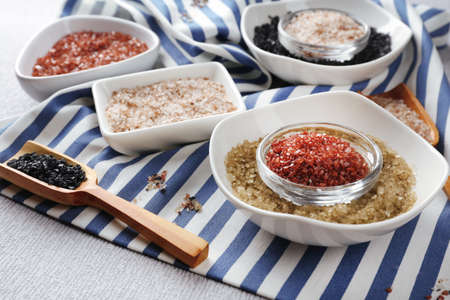 solid food: Different sea salt, close up Stock Photo