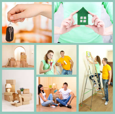Real estate collage: moving to new house photo