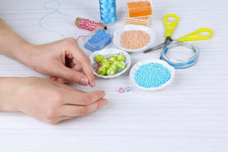 costume jewelry: Process of creating costume jewelry close-up