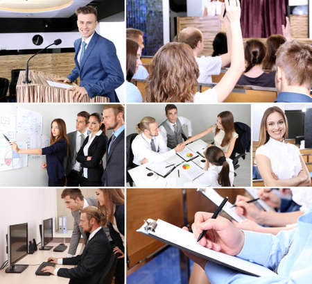 Collage of busy people discussing work and studying photo