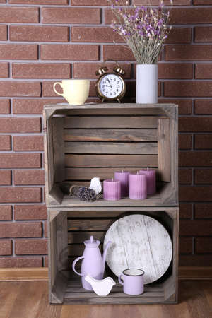Shelves made of wooden boxes for small things for home photo