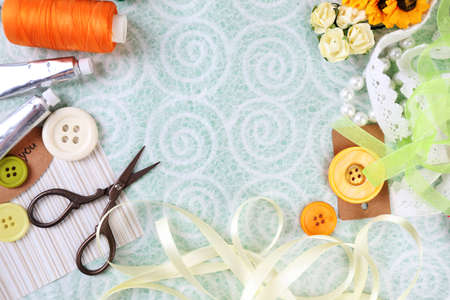 craft supplies: Scrapbooking craft materials on light background