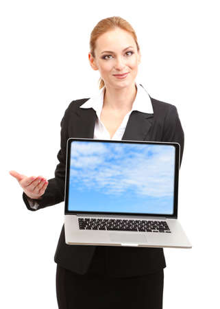 Woman holding laptop with screensaver, isolated on white photo