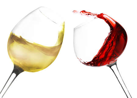 Wineglasses with red and white wine, isolated on white photo