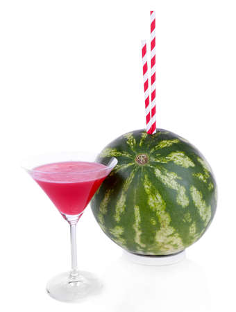 Ripe watermelon with cocktail isolated on white photo