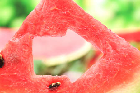 Fresh slices of watermelon on nature background, close up photo
