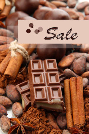 liquidation: Concept of discount. Composition of chocolate sweets, cocoa