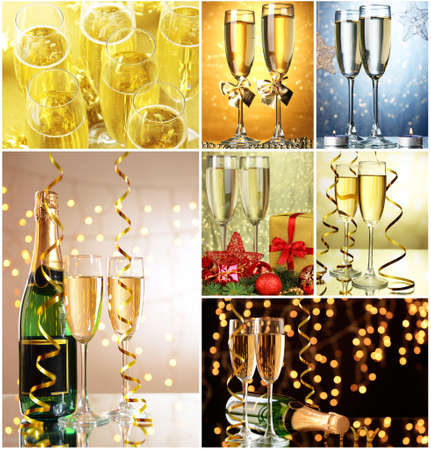 shine background: Christmas collage. Glasses of champagne on  shine  background