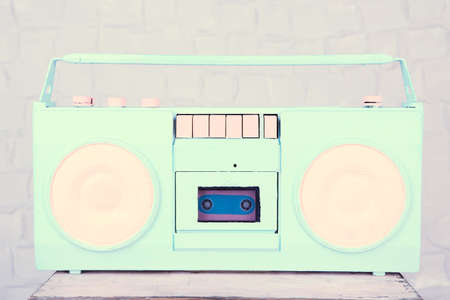 Colorful retro radio, on grey background photo