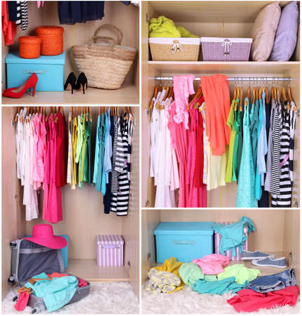 Wardrobe with clothes collage photo