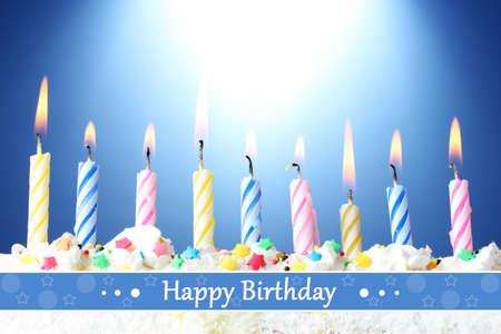 Birthday postcard.Beautiful birthday candles photo