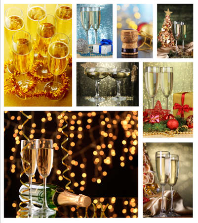 shine background: Collage di Natale. Bicchieri di champagne su sfondo brillare Archivio Fotografico