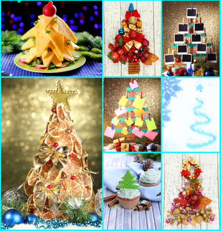Collage of creative Christmas trees photo