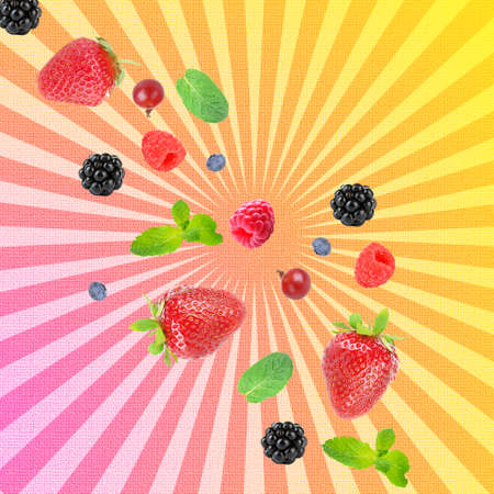 Falling berries on bright background photo
