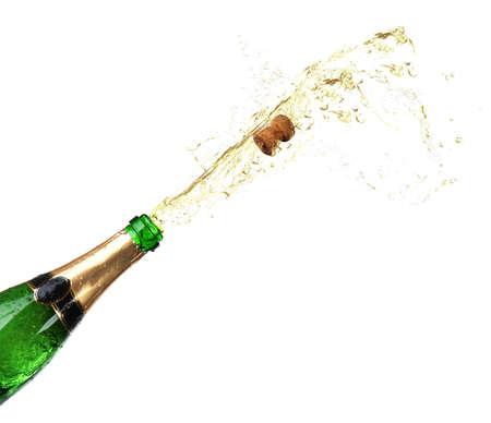popping cork: Bottle of champagne with splashes isolated on white