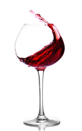 red wine glass: Wineglass with red wine, isolated on white
