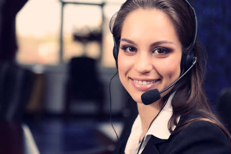 customer: Call center female operator at work