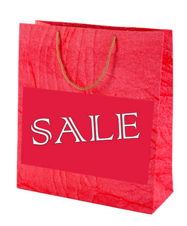 Sale concept. Color shopping bag, isolated on white photo