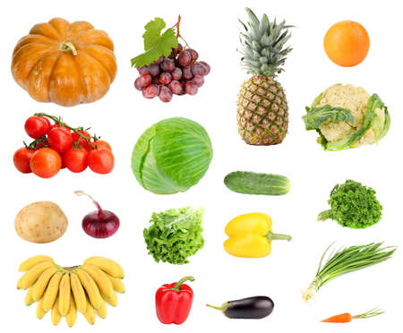 Collage of fresh fruit and vegetables isolated on white photo