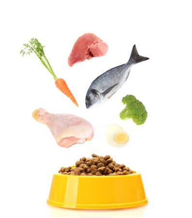 plastico pet: Concepto de alimentos para mascotas. Los alimentos que entren en el cuenco del animal doméstico aislado en blanco