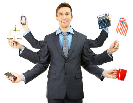 many: Portrait of young businessman with many hands, isolated on white Stock Photo