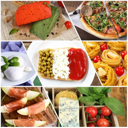 Collage of tasty Italian food photo