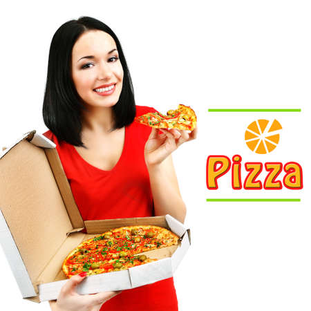 eating pizza: Beautiful girl with delicious pizza in pizza box isolated on white