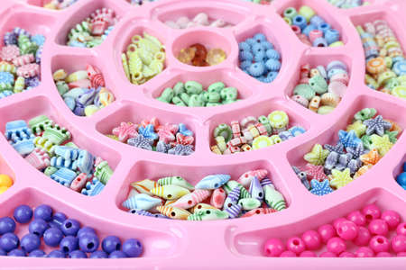 beading: Multicoloured beading kit for children in a pink box