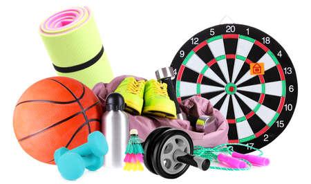 sporting goods: Art�culos de deporte aislados en blanco