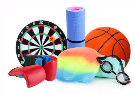 sporting goods: Art�culos de deporte aisladas en blanco Foto de archivo