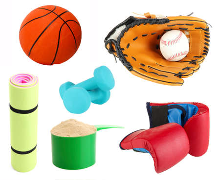 sporting goods: Collage de art�culos deportivos aislados en blanco Foto de archivo
