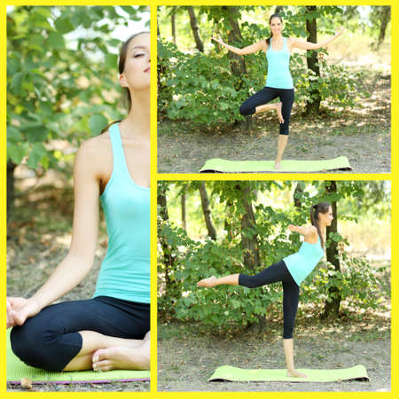 Collage of young beautiful woman doing yoga exercises in park photo