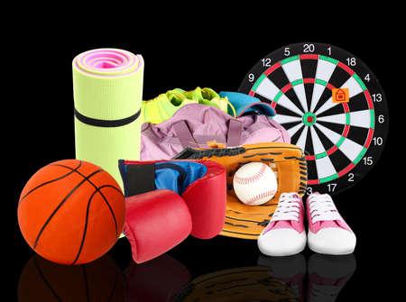 sporting goods: Articulos de deporte sobre fondo negro