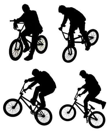 bmx bike: Bicycle collage. Boy on BMX bike isolated on white