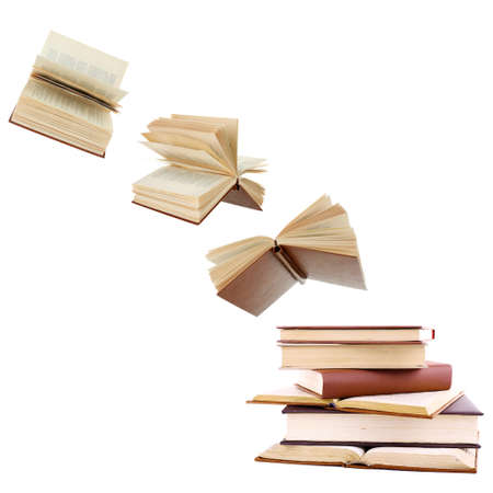 Libros de vuelo aislado en blanco