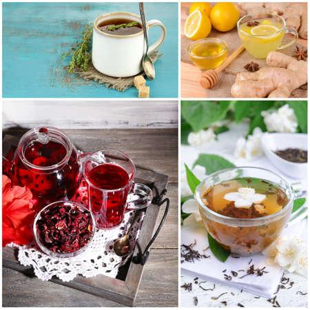 Collage of tasty tea photo