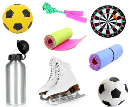 sporting goods: Collage de art�culos de deporte aislado en blanco Foto de archivo