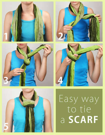 How to tie a scarf? Woman wearing scarf, close up Stock Photo