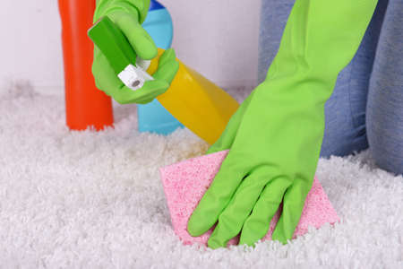 carpet clean: Cleaning carpet with cloth and  sprayer close up