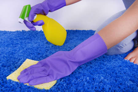 carpet stain: Cleaning carpet with cloth and  sprayer close up