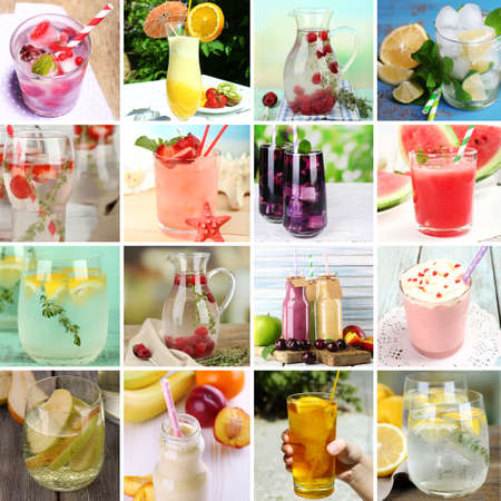 Collage of cold summer beverages photo