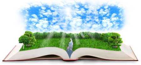 Fantasy tale book isolated on white photo