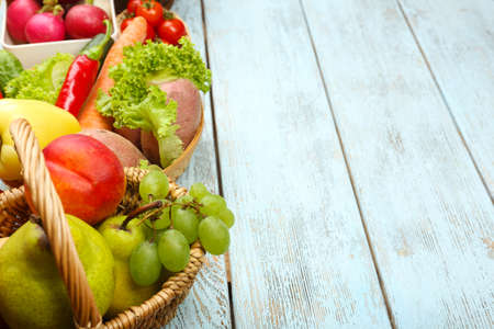 summer fruits: Summer frame with fresh organic vegetables and fruits on wooden background