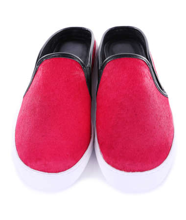 Bright pink shoes, isolated on white Stock Photo