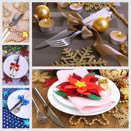 Christmas table setting collage photo