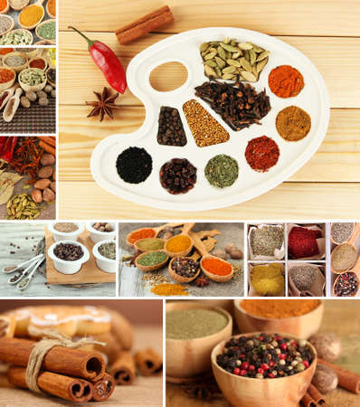 Collage of different spices photo